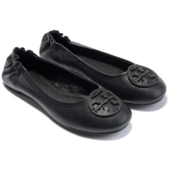7f6f99347 Tory Burch REVA black leather BALLET flats shoes. M 5a8f06898290af8590e993a1